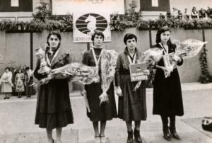 From left to right: Maia Chiburdanidse, Nana Alexandria, Nona Gaprindashvili and Nana Ioseliani Chess Olympiad, Lucerne 1982