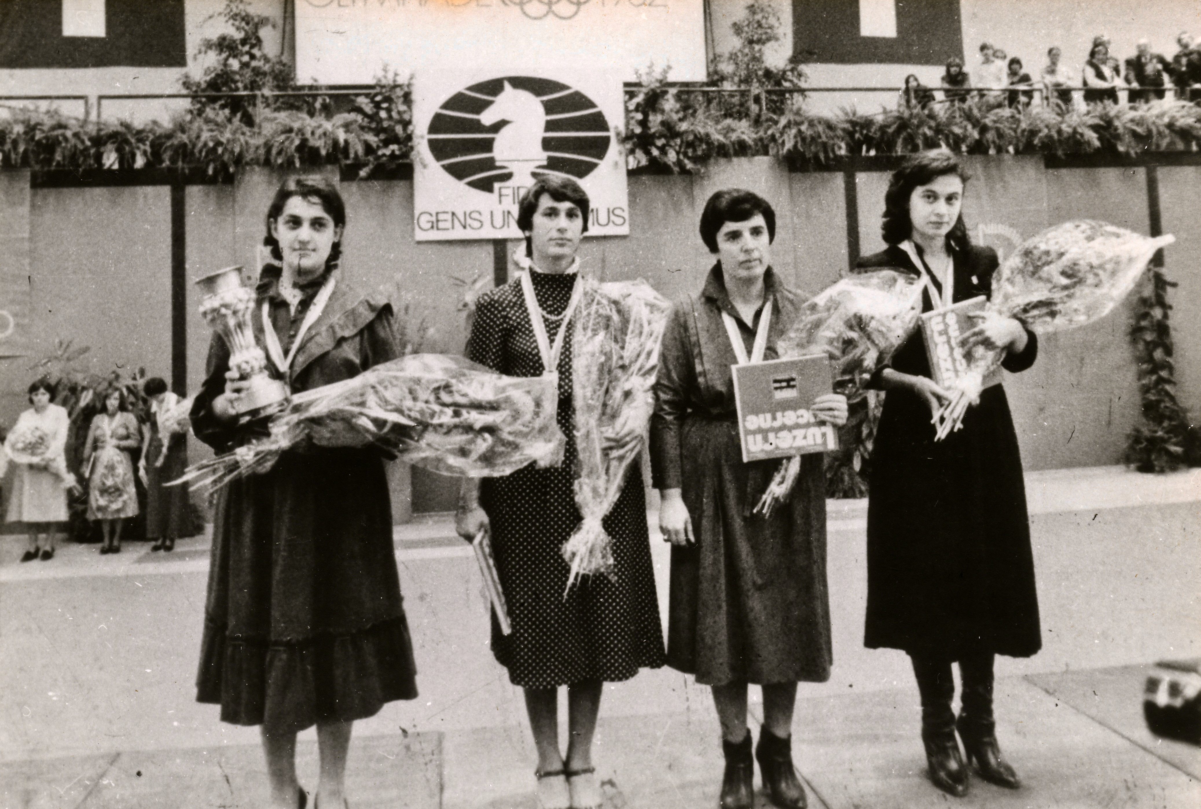 From left to right: Maia Chiburdanidse, Nana Alexandria, Nona Gaprindashvili and Nana Ioseliani Chess Olympiad, Lucerne 1982