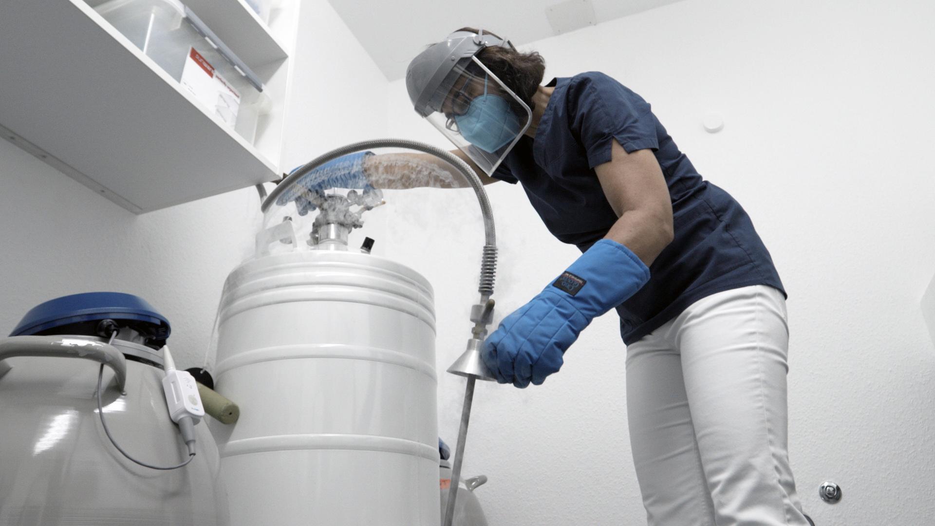 Eine Mitarbeiterin der Erlanger Samenbank hantiert mit flüssigem Stickstoff